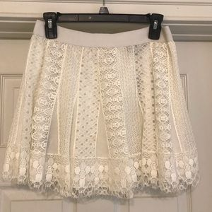BCBG White Lace Skirt